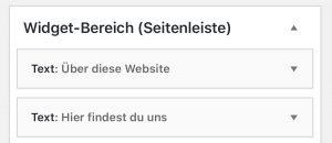 Im WordPress Widget-Bereich ändert man die Standardadresse Traum Allee, Jetztdabei